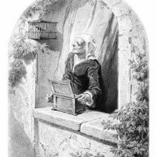 An older woman plays a bird organ on her window ledge while looking at a bird inside its cage
