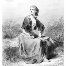 A woman in a bolero is sitting on a grassy bank with her arms akimbo and a tambourine in her lap