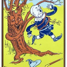 An anthropomorphic tree comes alive to catch a scarecrow with its branches