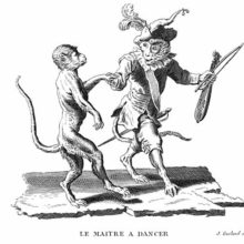 A monkey in court dress and holding a violin is showing a step to another, awkward-looking monkey