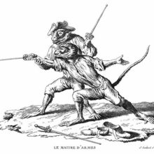 A monkey armed with a buttoned foil is practicing a lunge, guided by his fencing master