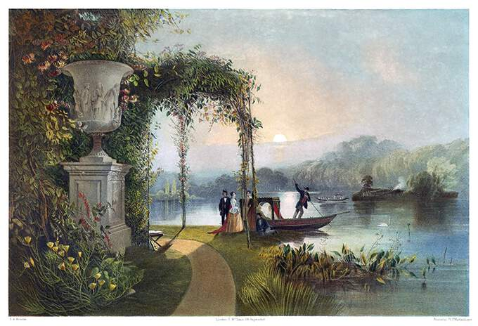 Sunset view of the lake at Trentham Hall, with a boat drawing alongside the bank