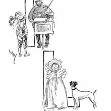 Lower case and capital L showing a man with a barrel organ and a crying toddler holding a biscuit
