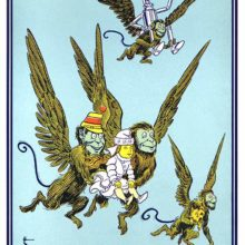 Two winged monkeys are carrying a young girl through the sky while a third one carries her dog