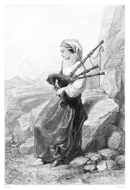 A barefoot woman in country dress is sitting on a rock playing the bagpipe