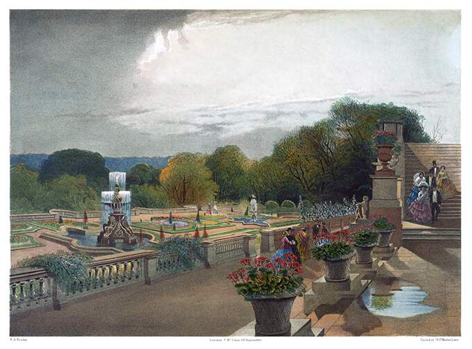Gardens of Harewood House after a storm, showing a balustrade, fountains, and flower beds
