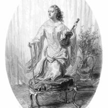 A woman stands with one knee resting on a stool, a violin in one hand and a bow in the other