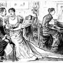 A woman sings plays the piano for dessert while a husband and his wife sit listening and chatting