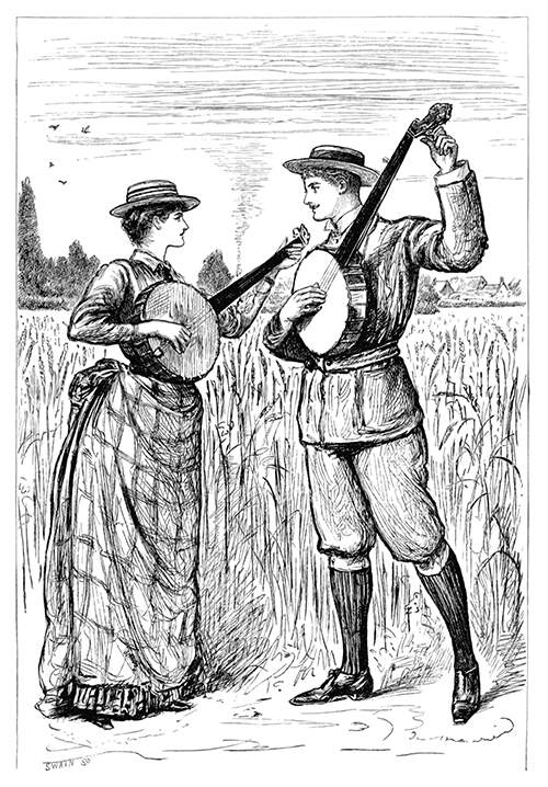 A woman and a man are out in a wheat field, facing each other and strumming on their banjos