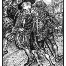 Four men dressed in the Elizabethan fashion drunkenly roam the street, one holding up a tankard