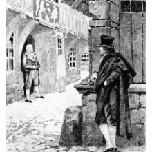 A man stands at a street corner looking at a storefront as the shopkeeper eyes him sideways