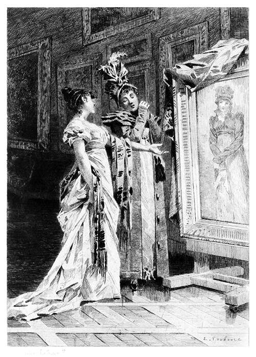 A woman shows her female guest a portrait, at the sight of which this latter recoils