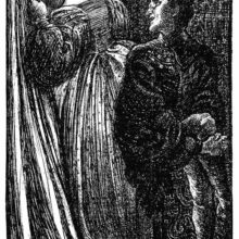 A man sitting on a bench turns his head toward two women behind him, one of whom is crying