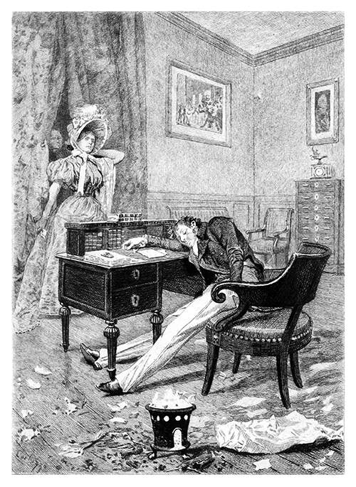 A woman walks into a room to discover a man unconscious at his desk with a brazier at his side