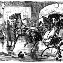 A man has almost got run over by a hansom cab and still look stunned, as does the cab driver