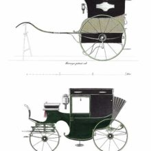 Plate showing Harvey's patent cab, a variant of the Hansom cab, and a traveling brougham