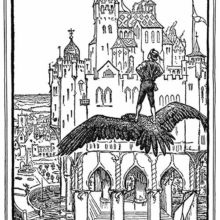 A youth stands on the back of a gliding eagle, contemplating the castle standing before him