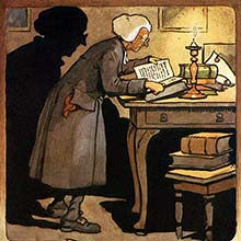 A man in a white wig stands by the side of a table covered with books and leans over one of them