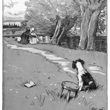 a dog can be seen next to a stool and looking in the direction of a couple sitting on a riverbank