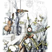 Machine-like musicians with heads like puffs of steam are playing a variety of instruments