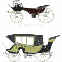 Swan-neck barouche and unspecified traveling carriage, possibly a variant of the britzka