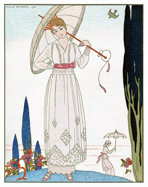 A woman carrying a parasol stands next to a small rose bush, in a park dotted with cypresses