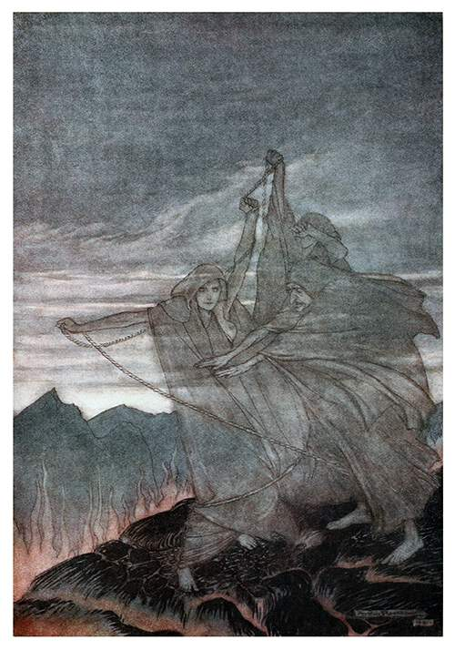 Three ghostly female figures are seen winding a rope on the top of a mountain surrounded by flames