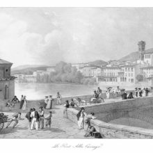 View of the Arno at Florence, with a section of the Ponte alla Carraia busy with people and carts