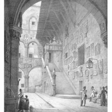 View of the archway, inner courtyard and stairs of what is now known as the Bargello Museum