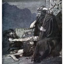 A dwarf kneels before a brooding warrior with a horned helmet and a spear sitting on a stone seat