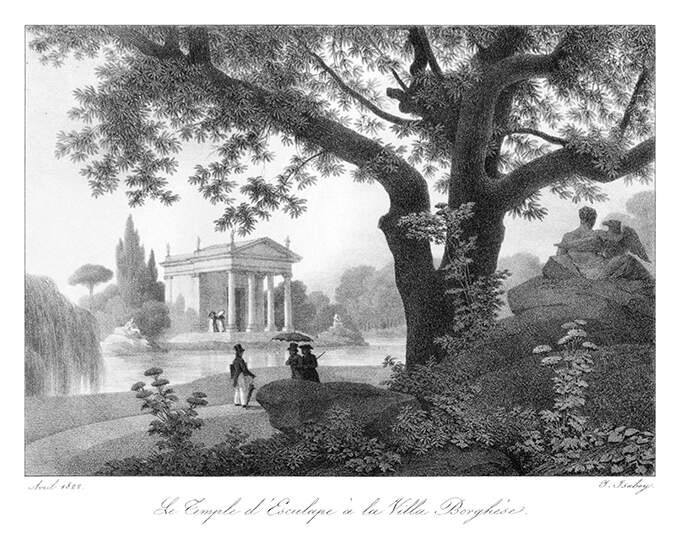 View of the neoclassical temple housing a statue of Aesculapius, at the Villa Borghese, Rome