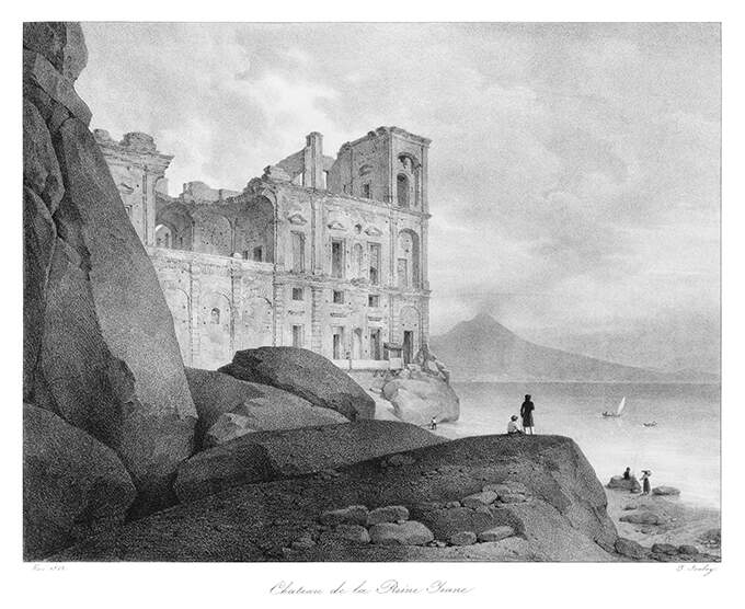 View of Anna Carafa's palace with rocks in the foreground and the Vesuvius in the distance