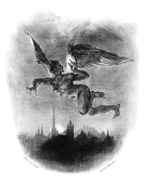 Mephistopheles is flying over a city and looks back as if startled by a call from above