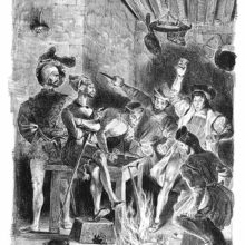 Several men seem panic-stricken by flames rising from the floor of an inn while one keeps his calm