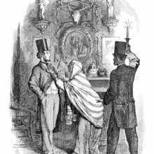 An old woman wearing a shawl and a headdress vehemently grabs a man in a top hat by his lapel