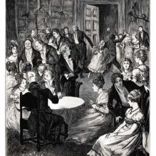 A family get-together is taking place in a hall, with guests in evening dress making merry