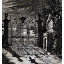 View of a wrought-iron gate as seen at night from the driveway and looking toward the countryside