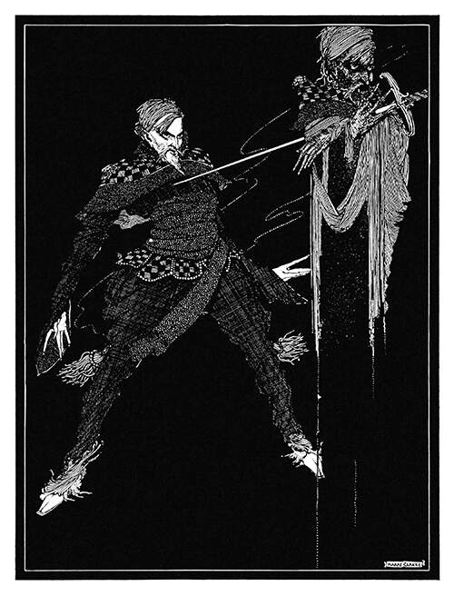 A man stands behind a spectral image of himself clutching the sword which runs through its chest
