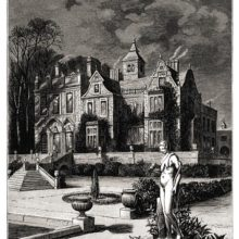 Perspective view of a country house at night, with a statue in the foreground