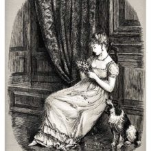 A woman is sitting in a paneled room with a dog at her side, plucking at a small bouquet