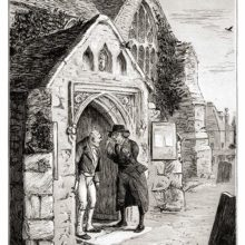 A parson is having a lively conversation with an older man on the porch of a small village church