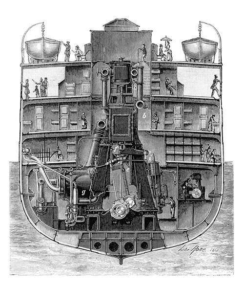 Cross-Section of the steam ship La Champagne, showing the engine rising as high as the main deck