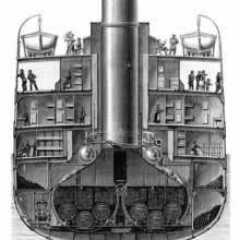 Cross-Section of the steamship La Champagne showing the boiler room, coal bunkers, and passengers
