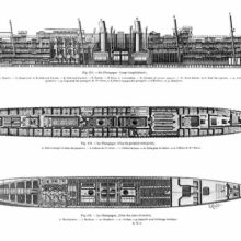 Longitudinal section and plans of the upper deck and holds of the ocean liner La Champagne