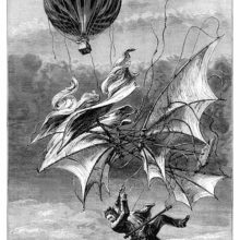 A man falls through the sky, desperately clinging to a winged apparatus as a balloon hovers above