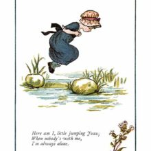 A little girl wearing a hat jumps from stone to stone across a stream