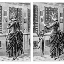 Split illustration showing a woman answering a call and plugging a cord into the switchboard
