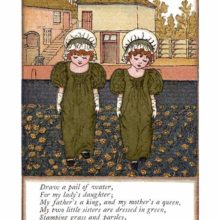 Two girls in mobcaps stand side by side in a garden and stamp the ground dotted with marigolds