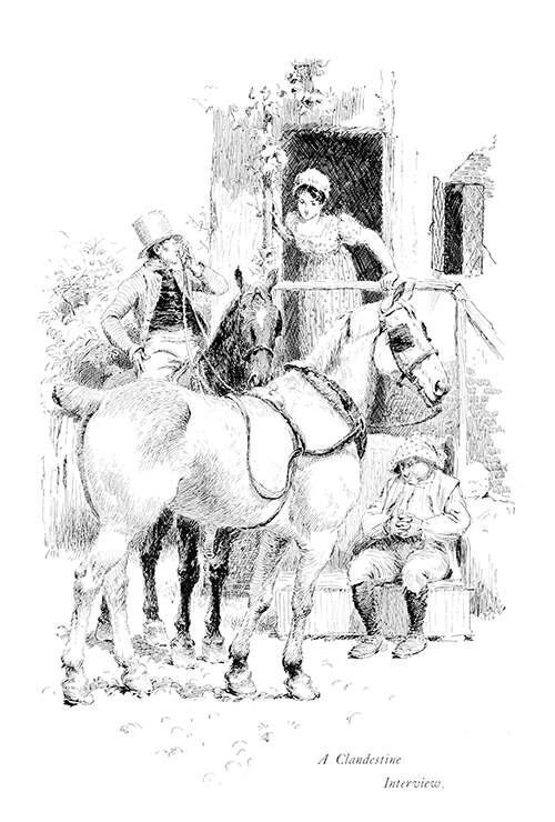 A woman stands on a porch, listening to a man on horseback who covers his mouth with his hand