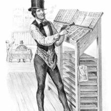 A dapper compositor in a top hat is smoking a cigar while filling in a line of type